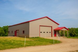 Classic Rib material siding on metal barn in Illinois