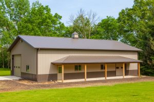 Barn in Illinois with classic rib metal roofing material on roof and siding