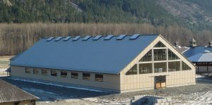 Arena with classic rib metal roofing material